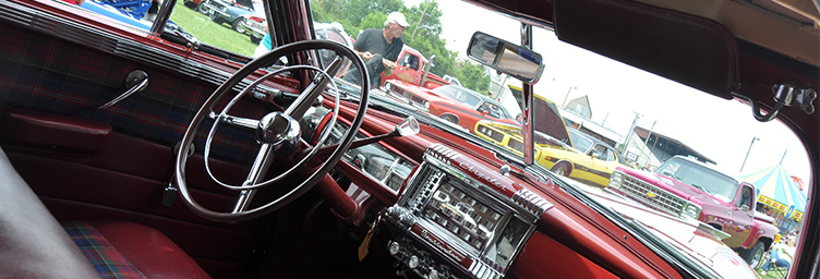 interior of classic car at car show