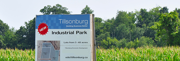 sign for Tillsonburg's new industrial park
