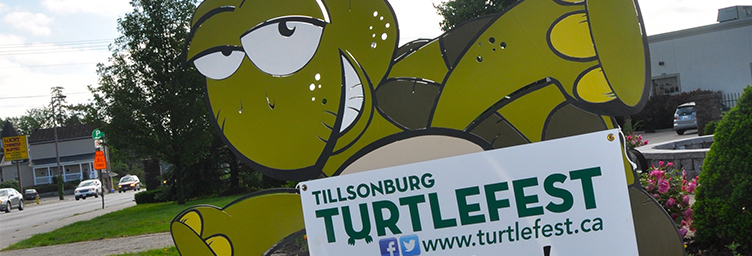 turtlefest sign with giant turtle