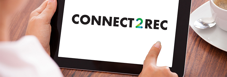connect2rec logo on tablet with hands holding