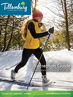 Woman skiing on cover of Winter 2020-21 Rec Guide