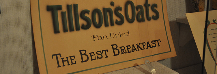 historic sign for Tillson's pan dried oats