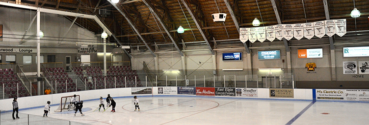 memorial arena with ringette on the ice