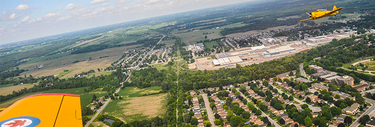 aerial of Tillsonburg from a Harvard
