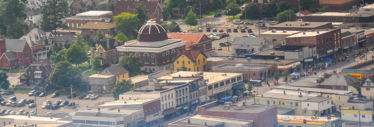 aerial view of downtown with St Paul's United Church dome in centre of frame