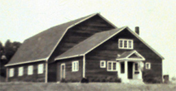 Black and white photo of the Evergreens Dance Hall in the 1930s