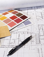 Building plans and paint swatches