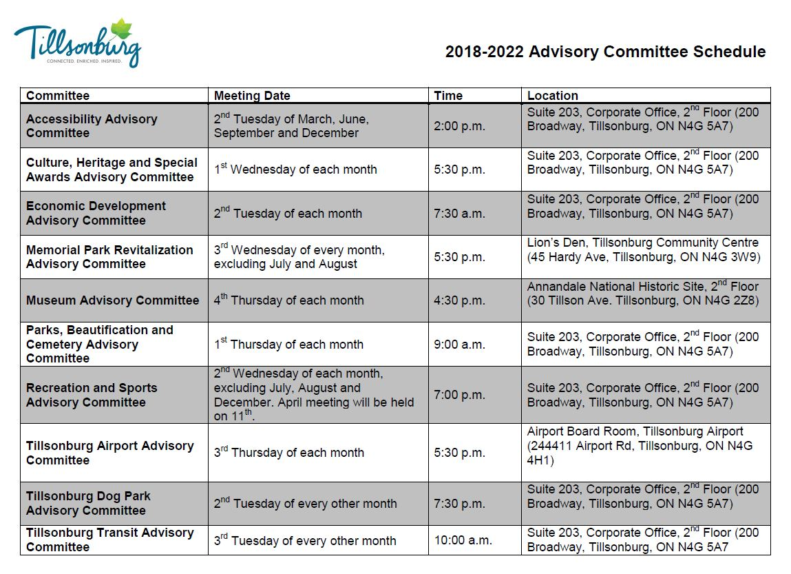 2018-2022 Advisory Committee Schedule