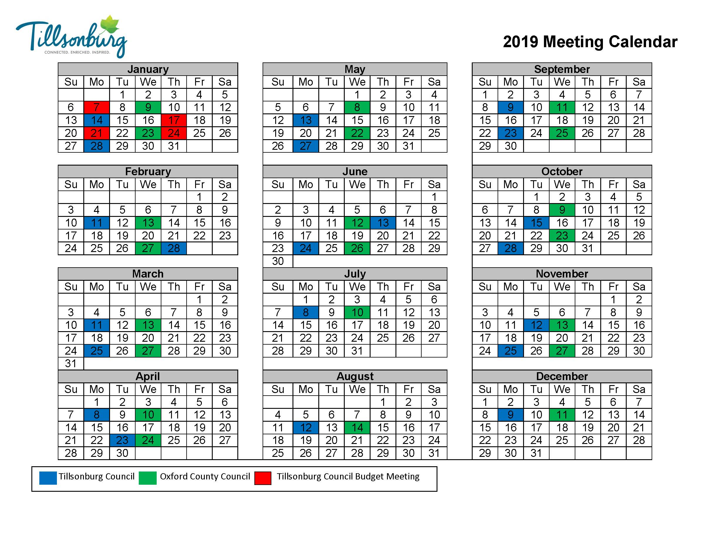 2019 Council Meeting Calendar