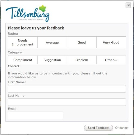 screenshot of Website Feedback form